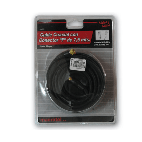 CABLE COAXIAL RG59 F 7.5MTS BLACK