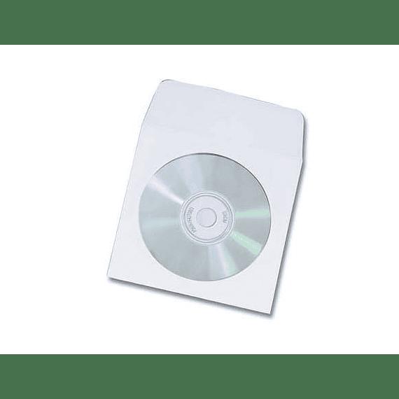 SOBRE PORTA CD PAPEL BLANCO 100 UDS