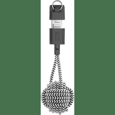 Cable Lightning con llavero Native Union zebra