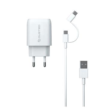 Cargador USB-C PD Carga rapida 20W para iPhone y iPad Dusted con Cable 2en1 Blanco
