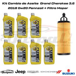 Kit Cambio de Aceite 0w20 Grand Cherokee 3.6 2018