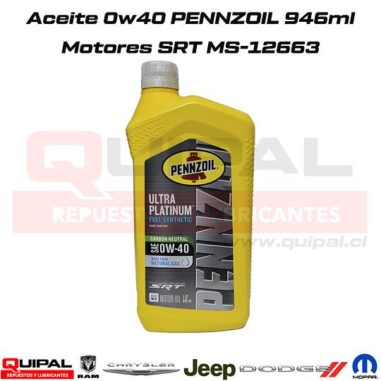 Aceite Motor Pennzoil 0w40 Full Sintético Motores SRT 946ml