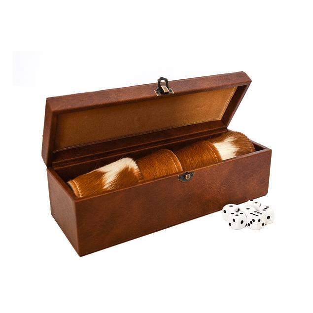 juego de cachos cuero con pelo natural hecho a mano