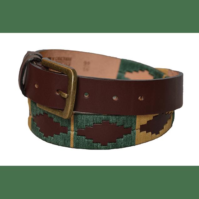 Cinturón cuero bordado Pampa verde Raiquen