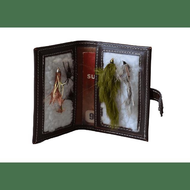 Porta moscas cuero Fly fishing hecho a mano