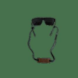 Strap porta anteojos cuero café y  negro