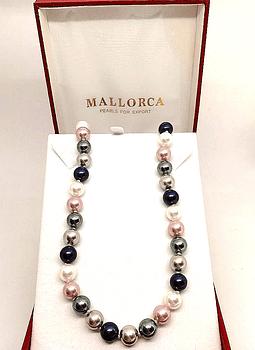 Collar Tonos Blanco Rosa y Gris Perlas Mallorca 10 mm