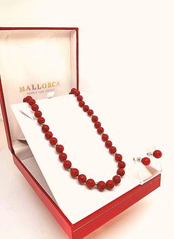 Aros Rojos Perlas Mallorca  8 mm