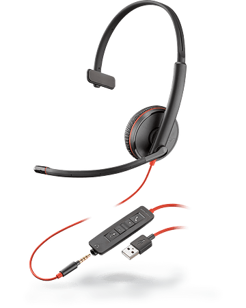 Poly Auriculares BLACKWIRE 3215, USB-A