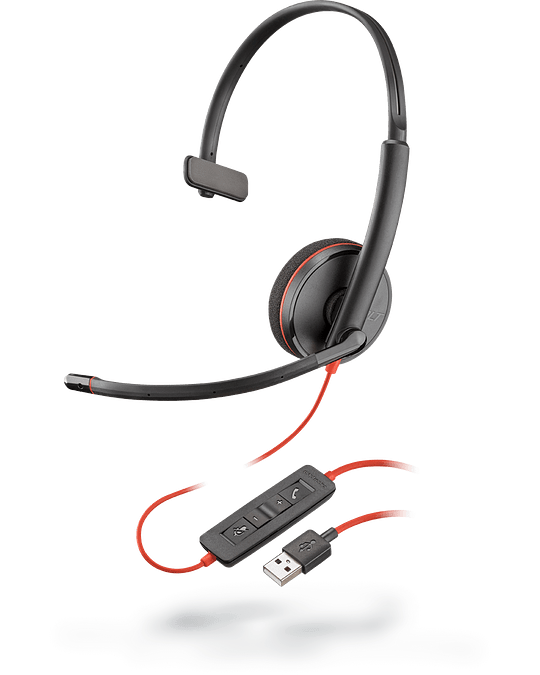 Poly AURICULARES CON CABLE UC SERIE BLACKWIRE 3200