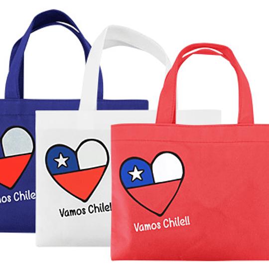 Bolsa TNT Vamos Chile 29 x 21.5 cm aprox.
