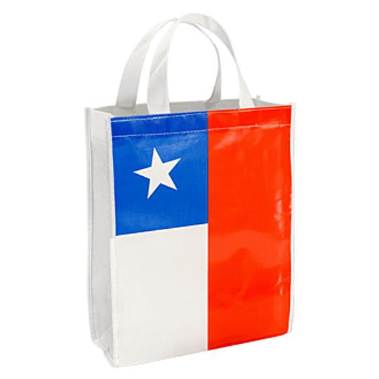 Bolsa TNT Bandera Chilena 25 x 30 x 8 cm.