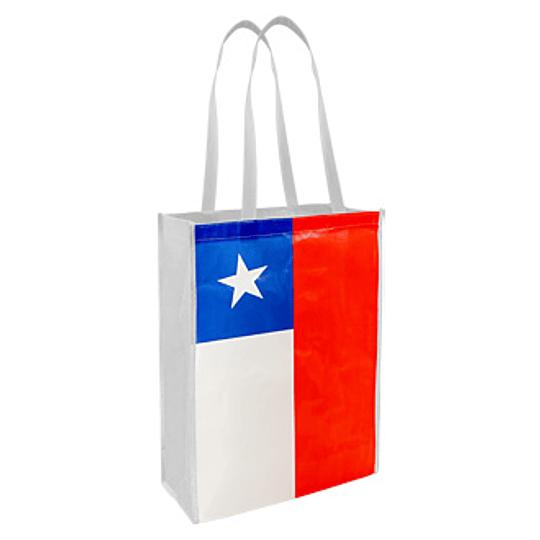 Bolsa TNT Bandera Chilena 30 x 40 x 12 cm.