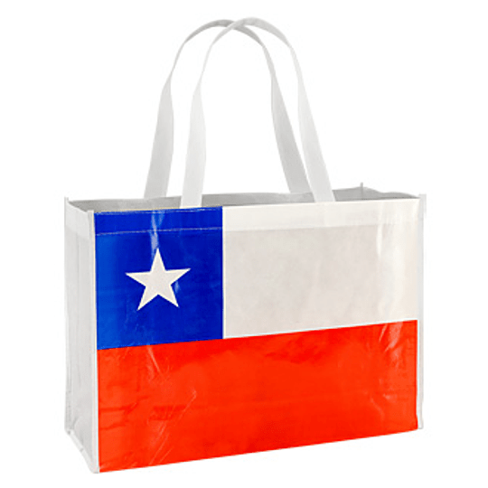 Bolsa TNT Bandera Chilena 40 x 30 x 12 cm.