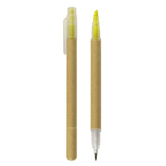 Bolígrafo/Destacador Ecológico 100 unidades con logo full color