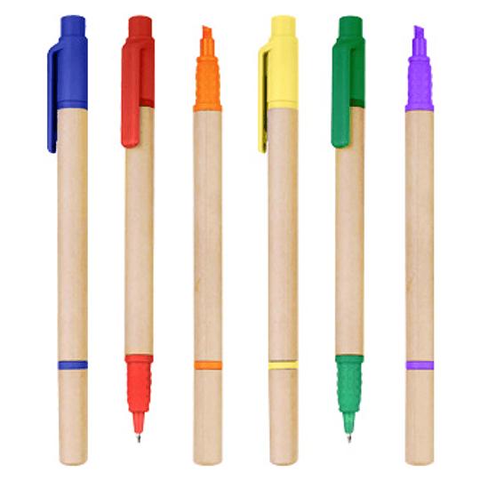 Bolígrafo Ecológico con Destacador 100 unidades con logo full color