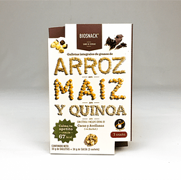 Galletas arroz maiz y quinoa con sachets de crema de cacao y avellana 54g
