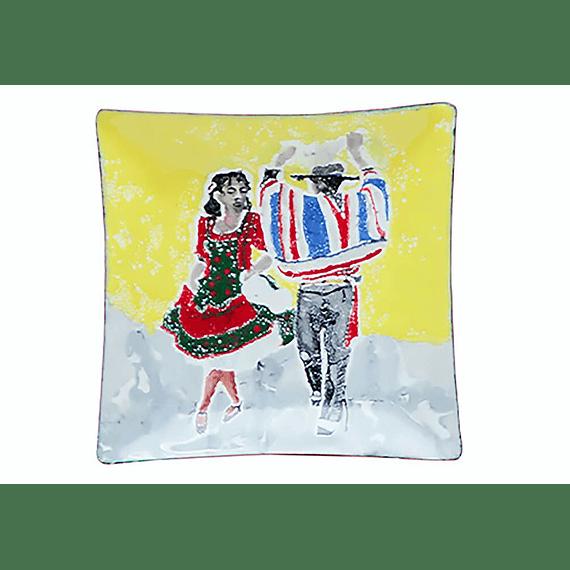 Cenicero de Cobre Esmaltado Pequeño / Baile Criollo