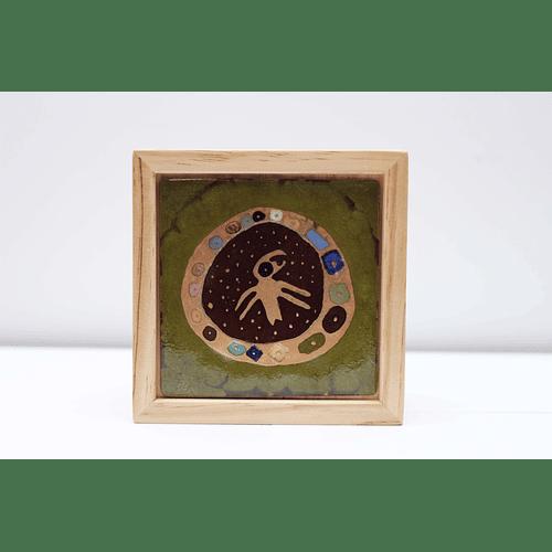 Caja de Madera con Tapa de Cobre Esmaltado