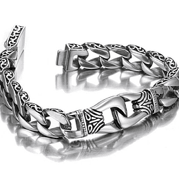 PULSERA TRIBAL EN ACERO INOXIDABLE 9""