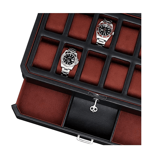 Estuche de lujo negro para 12 relojes