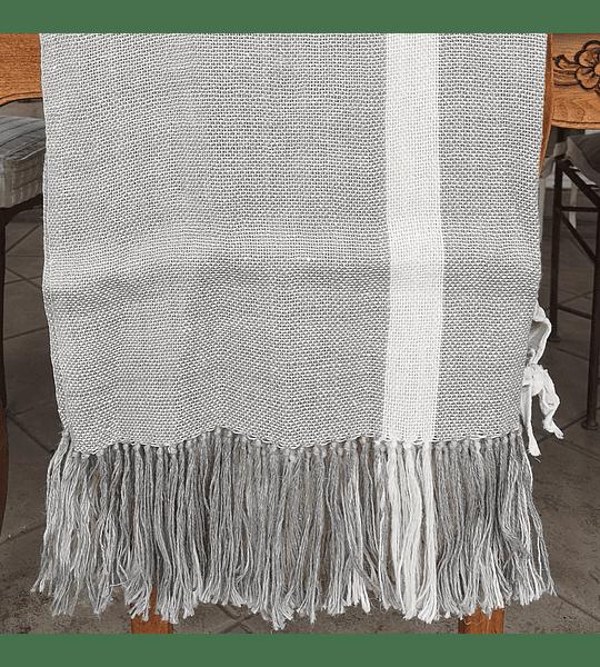 Manta Lino Gris con Línea Blanca 90x240