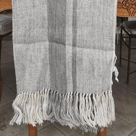 Manta de lino 90x240cm entreverado crudo  gris lineas grises