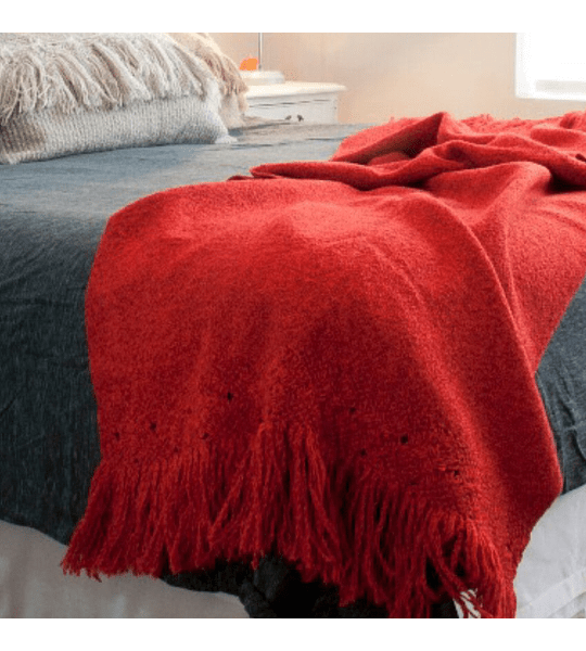 Manta Lana Macramé Roja 60x240