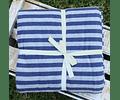 Funda Jersey Algodón Gris Líneas Azules 170x240