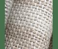 Manta Lino Blanca Líneas Beige 90x240