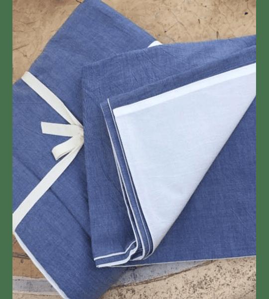 Funda Algodón Stonewash Azul/Blanco 280x240