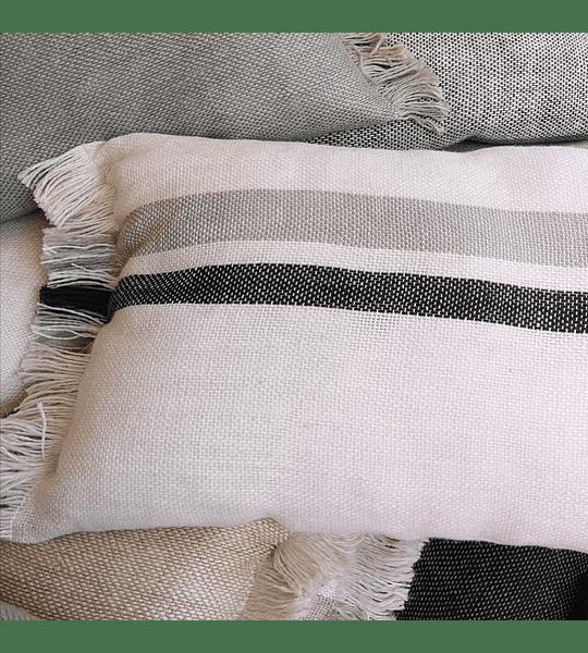Cojín de Lino Blanco Líneas Gris y Marengo 60x40