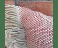 Cojín de Lino Natural/Rojo 60x40
