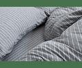 Funda Jersey Algodón Gris Rayas Blancas 170x240