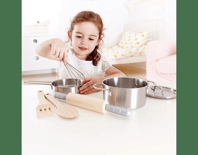 Set de cocina ollas metálico