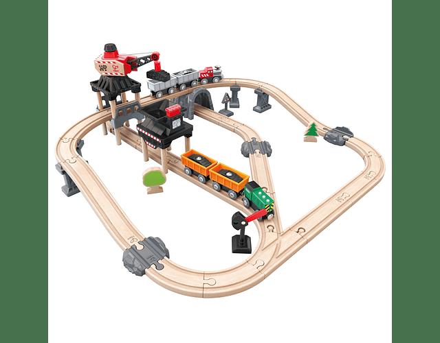 Pista de tren carga minera