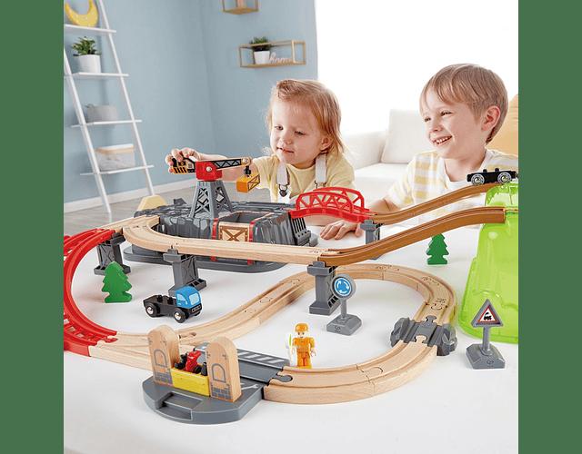 Pista de tren - juego de bloques de construcción de ferrocarril