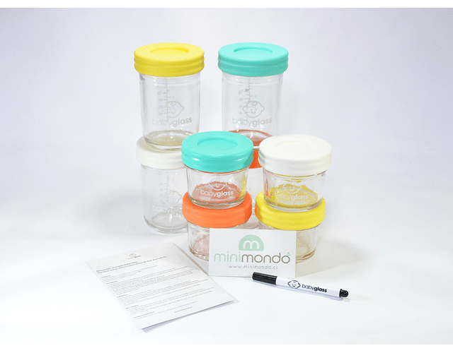 Babyglass Set 4 contenedores Babyglass 120 ml + 4 contenedores 240 ml + lápiz marcador