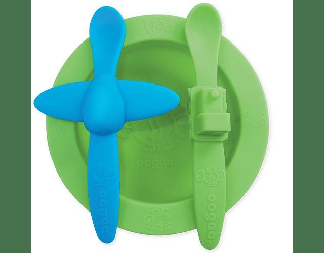 Oogaa Set bowl y cucharas de silicona verde