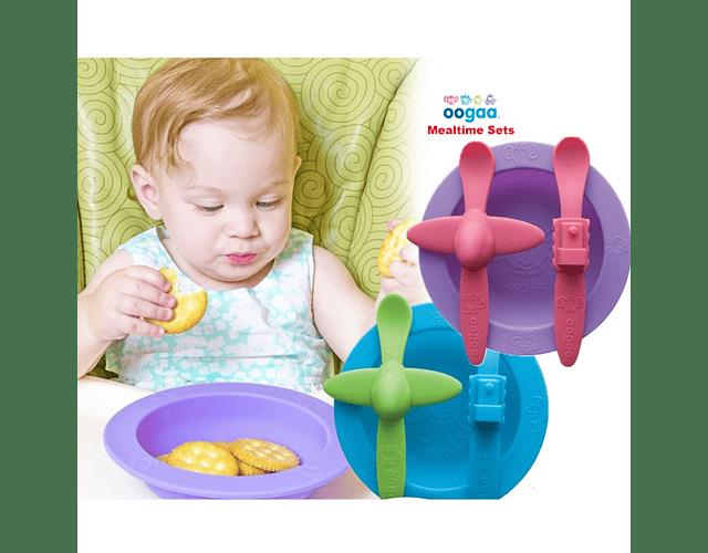 Oogaa Set bowl y cucharas de silicona morado