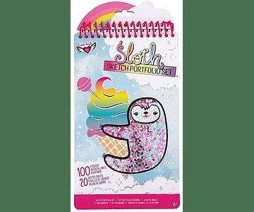 Libro para pintar y stickers Perezoso