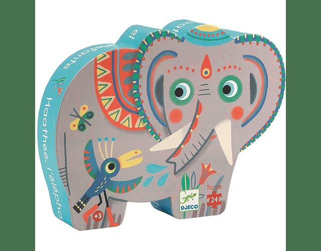 Puzzle Silueta Elefante Asiático 24 piezas