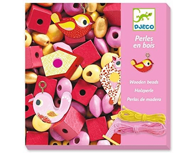 Set de mostacillas de madera rosada pájaro