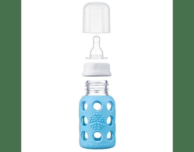 Lifefactory Mamadera 120 ml de vidrio con funda de silicona Celeste