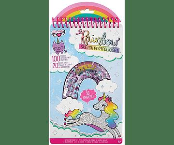 Libro para pintar y stickers Arcoiris