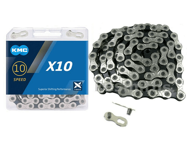 CADENA KMC X10 10v 116l NEGRO/PLATEADO + MISSINGLINK