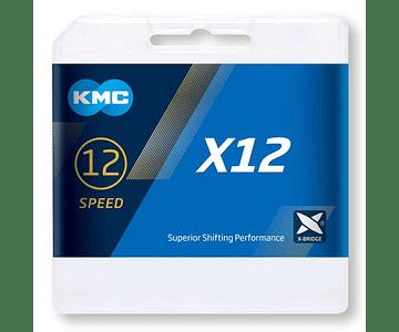 CADENA KMC X12 12V 126L PLATEADO + MISSINGLINK