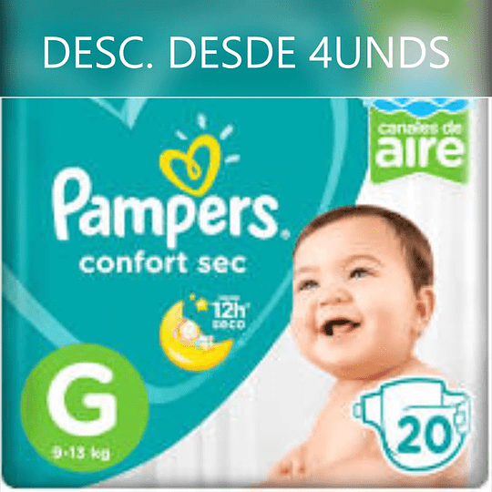 Pampers Confort Sec Talla G 20 UNDS