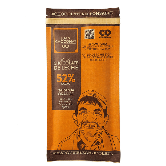 Chocolate 52% Cacao Naranja Leche 65 grs