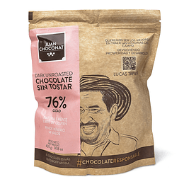 Chocolate 76% Cacao Sin tostar 420 grs